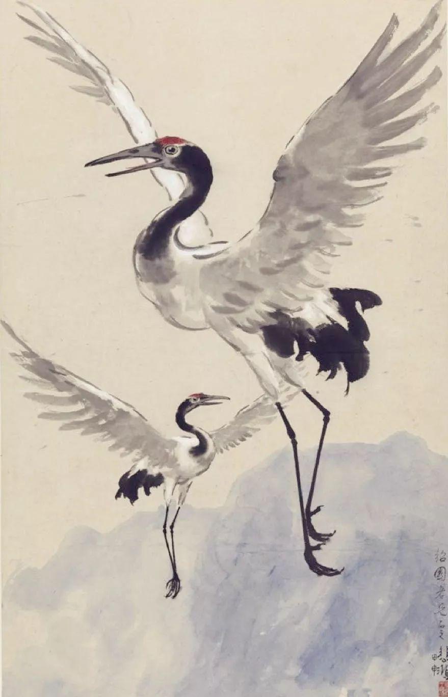 徐悲鸿《双鹤》(纸本设色,96.2×61.6厘米,1945年,中国美术馆藏)